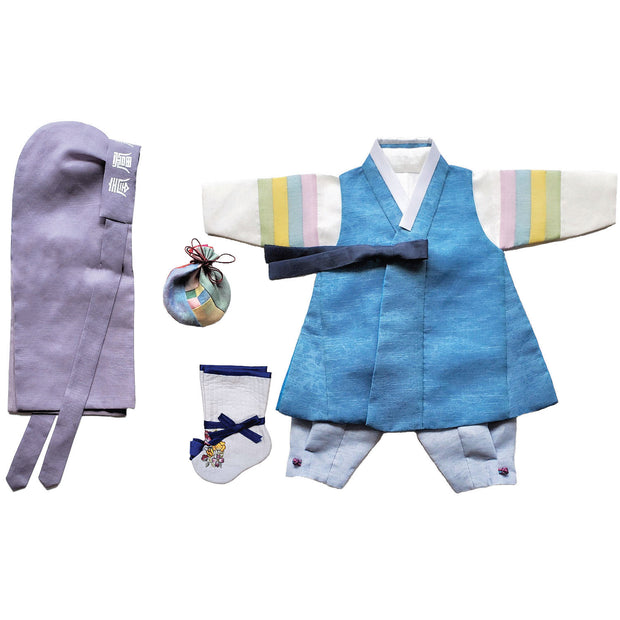 Hanbok - Blue and Light Blue - Boy Dol Hanbok Set - 6 Pieces