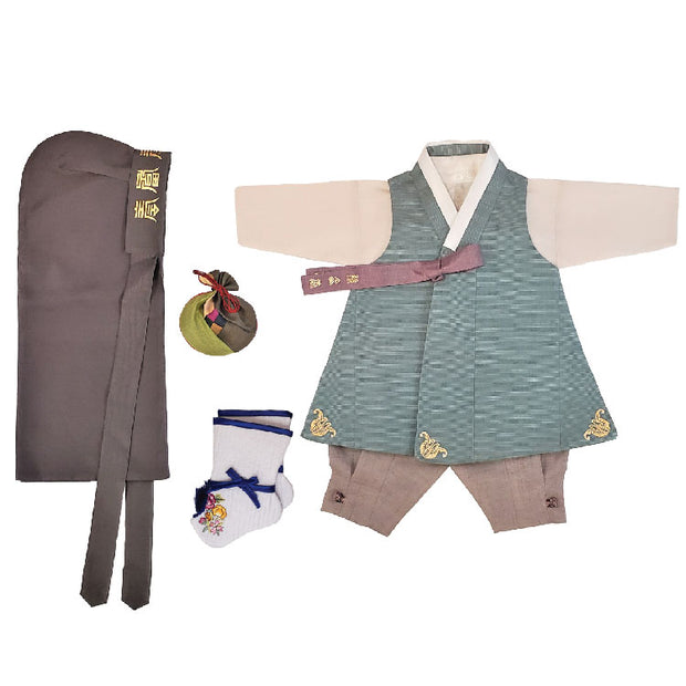 Hanbok - Green and Taupe - Boy Dol Hanbok Set - 6 Pieces