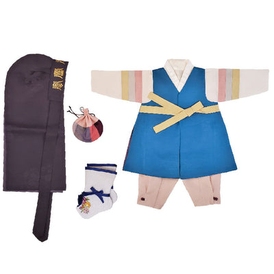 Hanbok - Bright Blue and Pinkish-Beige- Boy Dol Hanbok Set - 6 Pieces