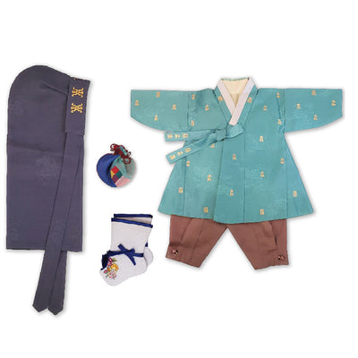 Hanbok - Green with Gold Stampings and Brown - Boy Dol Hanbok Set - 6 Pieces