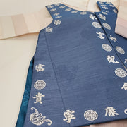 Hanbok - Jean Blue with Silver Stampings and Beige - Boy Dol Hanbok Set - 6 Pieces
