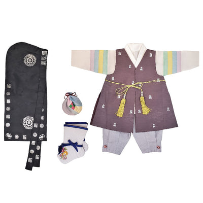 Hanbok - Brown Silver Stamping and Gray - Boy Dol Hanbok Set - 7 Pieces