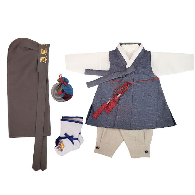 Hanbok - Ink Blue and Gray - Boy Dol Hanbok Set - 6 Pieces Set