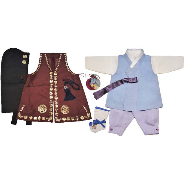 Hanbok - Baby Blue and Lavender - Boy Dol Hanbok Set - 8 Pieces Set