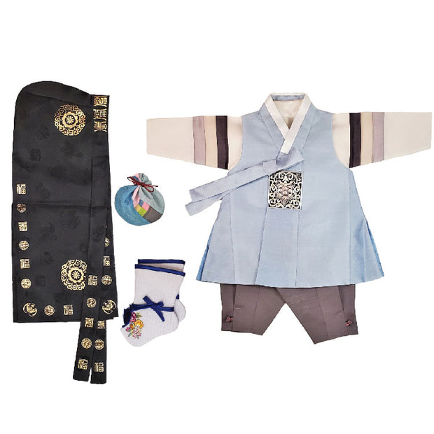 Hanbok - Sky Blue and Gray - Boy Dol Hanbok Set - 6 Pieces
