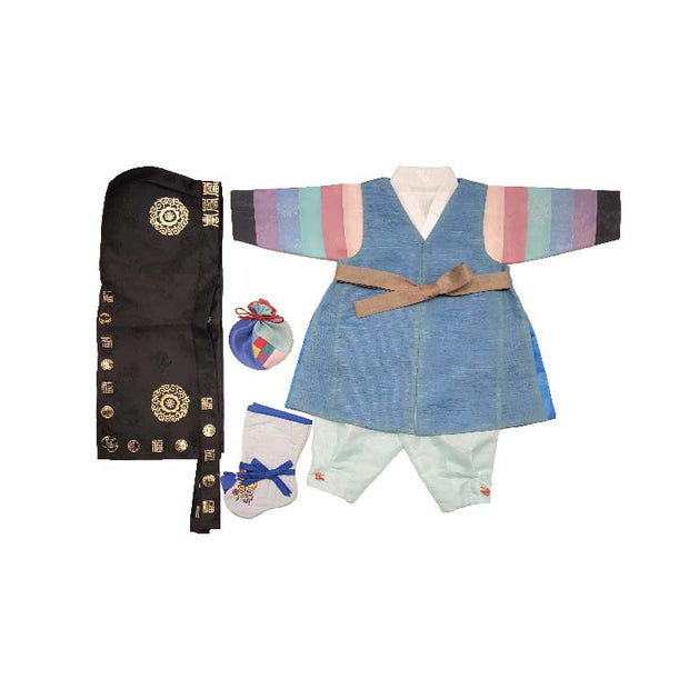 Sapphire Blue and Light Blue - Boy Dol Hanbok Set - 6 Pieces Set