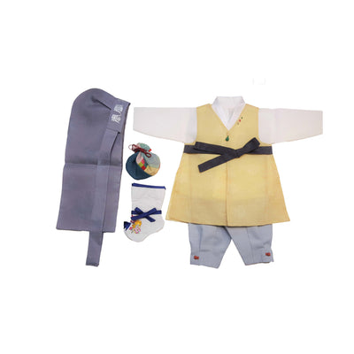 Yellow and Light Blue - Boy Dol Hanbok Set - 6 Pieces