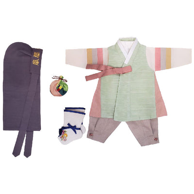 Hanbok - Green with Coral Side Trimming and Beige - Boy Dol Hanbok Set - 6 Pieces Set
