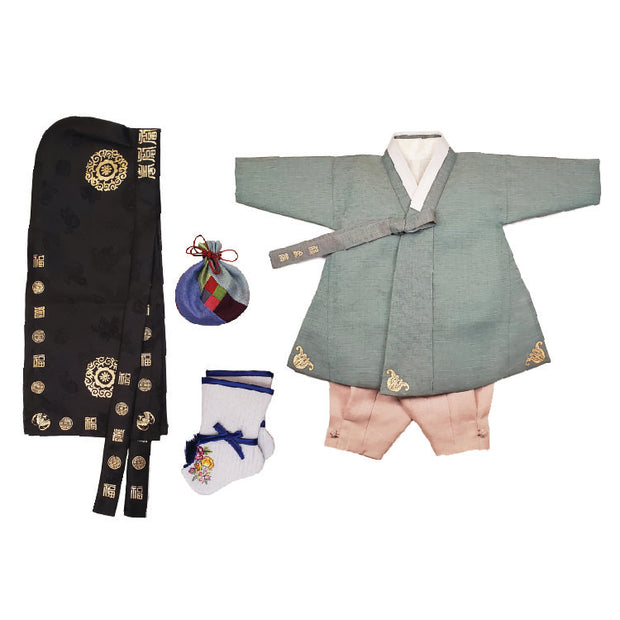Hanbok - Green with Gold Stampings and Taupe - Boy Dol Hanbok Set - 6 Pieces