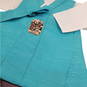 Hanbok - Aqua Blue and Brown - Boy Dol Hanbok Set - 6 Pieces
