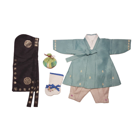 Teal with Gold Stamps and Taupe - Boy Dol Hanbok Set - 6 Pieces