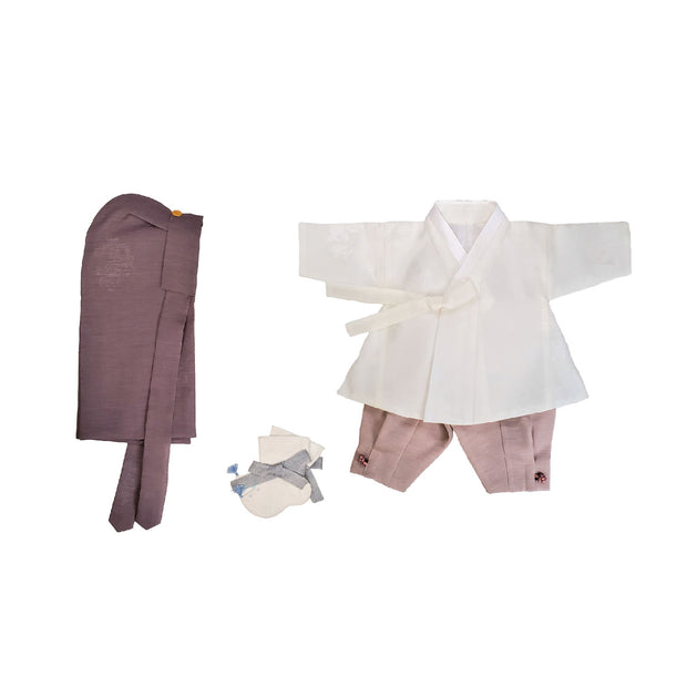 Hanbok - White and Taupe 100th Day 4 pcs. Set - 백일복