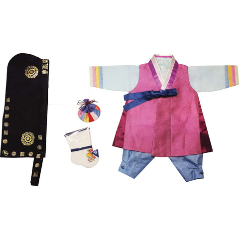 Purple with Blue Rainbow Cuffs and Light Blue - Boy Dol Hanbok Set - 6 Pieces