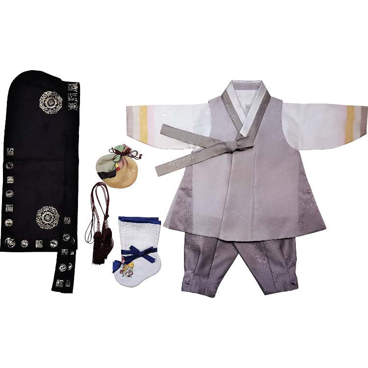 Gray with Dark Gray Sides and Dark Gray - Boy Dol Hanbok Set - 7 Pieces