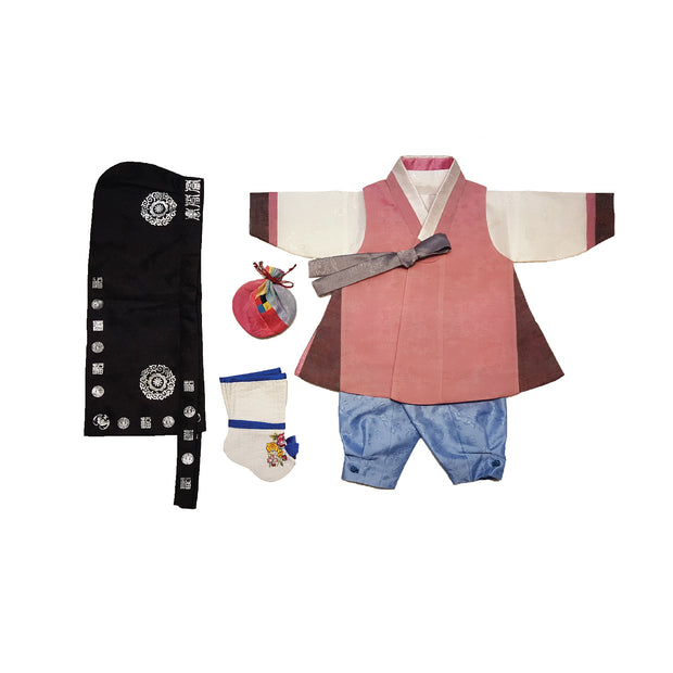 Dusty Rose with Brown Side Trimming and Light Blue - Boy Dol Hanbok Set - 6 Pieces