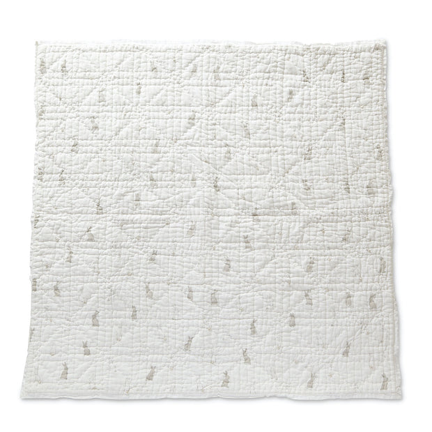 Crib Infant - Blanket - Bunny - Lightly Padded Quilt with Lace Trim - White Gray