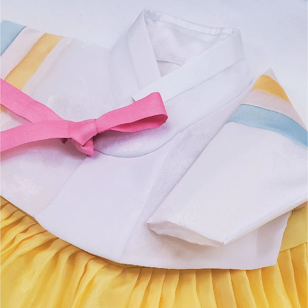 Hanbok - White and Yellow 100th Day 4 pcs. Set - 백일복