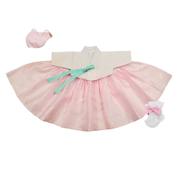 Hanbok- White and Pink 100th Day 4 pcs. Set - 백일복
