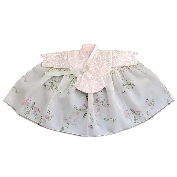 Lace Pink Underlay and Floral - Girl Dol Hanbok Set - 7 Pieces