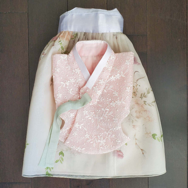 Hanbok - Lace Pink Underlay and Floral - Girl Dol Hanbok Set - 7 Pieces