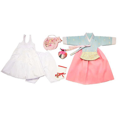 Hanbok - Light Blue with Gold Stampings and Pink  - Girl Dol Hanbok Set - 7 Pieces