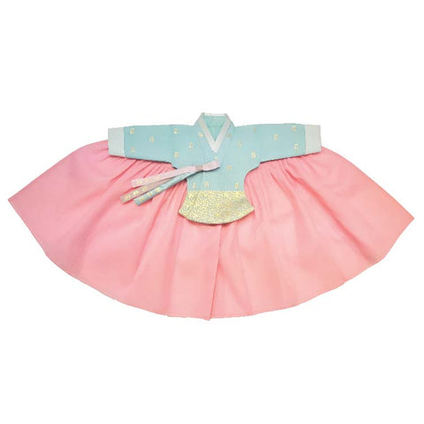 Light Blue with Gold Stampings and Pink  - Girl Dol Hanbok Set - 7 Pieces