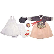 Eggplant with Gold Stamping and Light - Girl Dol Hanbok Set - 7 Pieces