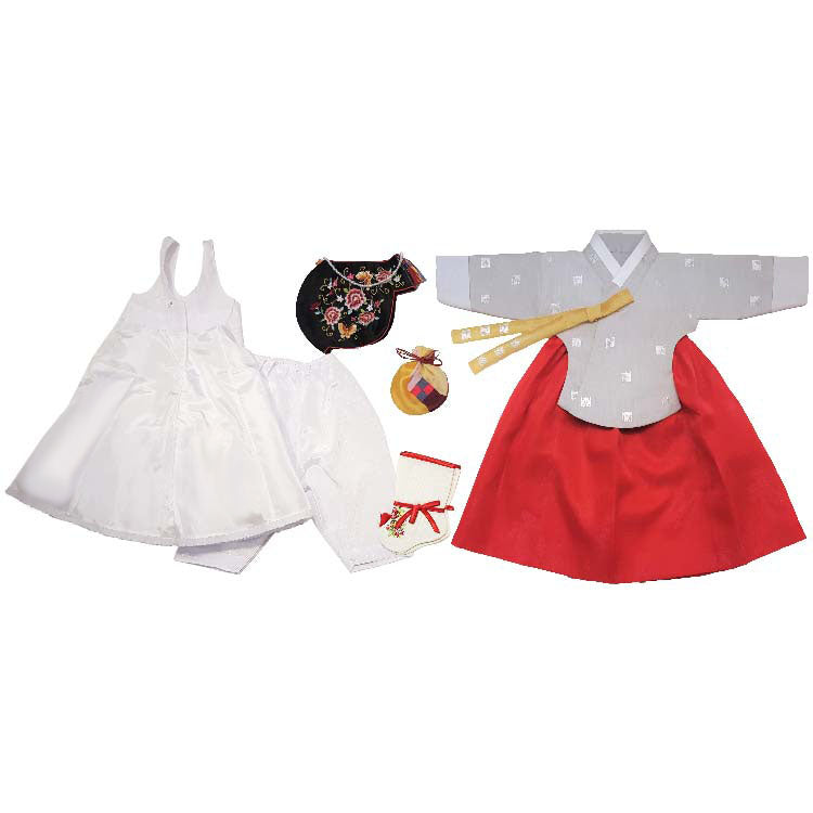 Gray with Silver Stamping and Red - Girl Dol Hanbok Set - 7 Pieces