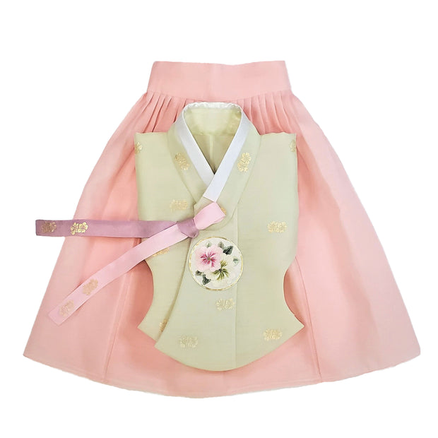 Hanbok - Light Lime with Gold Stampings and Pink - Girl Dol Hanbok Set - 7 Pieces