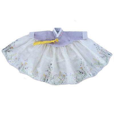 Hanbok - Lavender and Floral - Girl Dol Hanbok Set - 7 Pieces