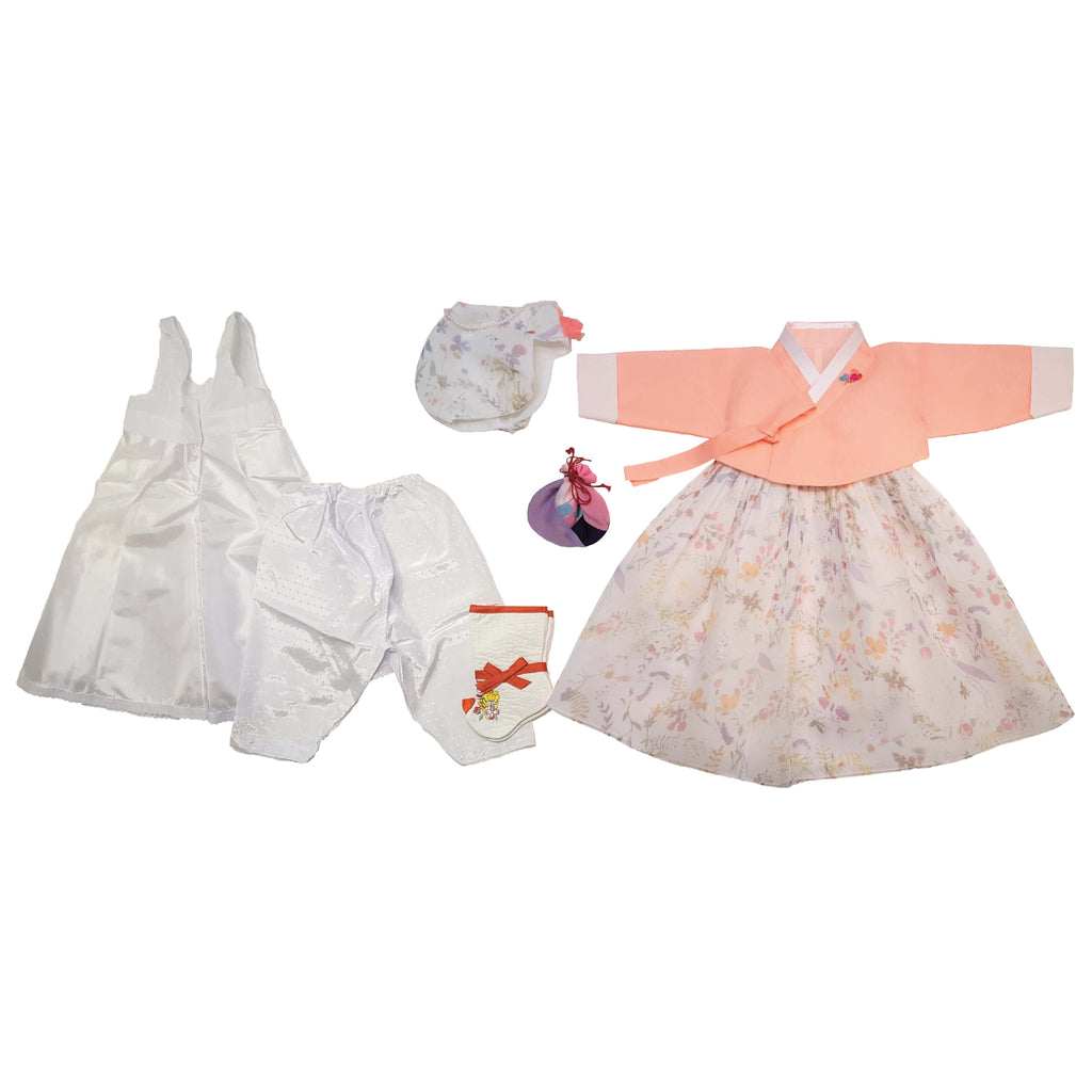 Coral and Floral - Girl Dol Hanbok Set - 7 Pieces