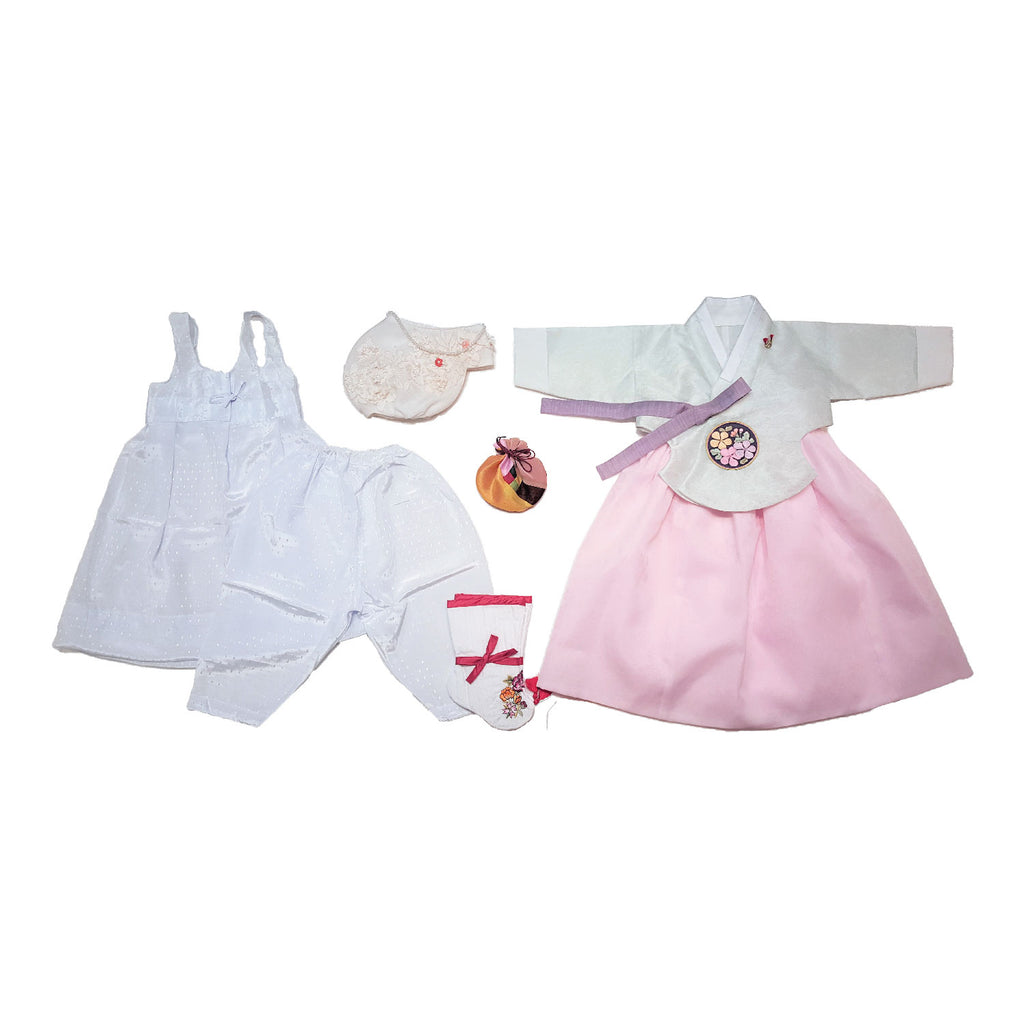 Light Blue with Embellishment and Pink - Girl Dol Hanbok Set - 7 Pieces
