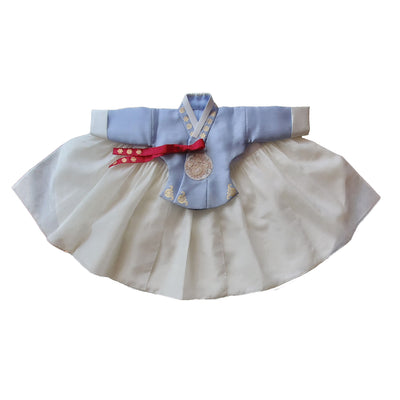 Hanbok - Maya Blue and Ivory  - Girl Dol Hanbok Set - 7 Pieces
