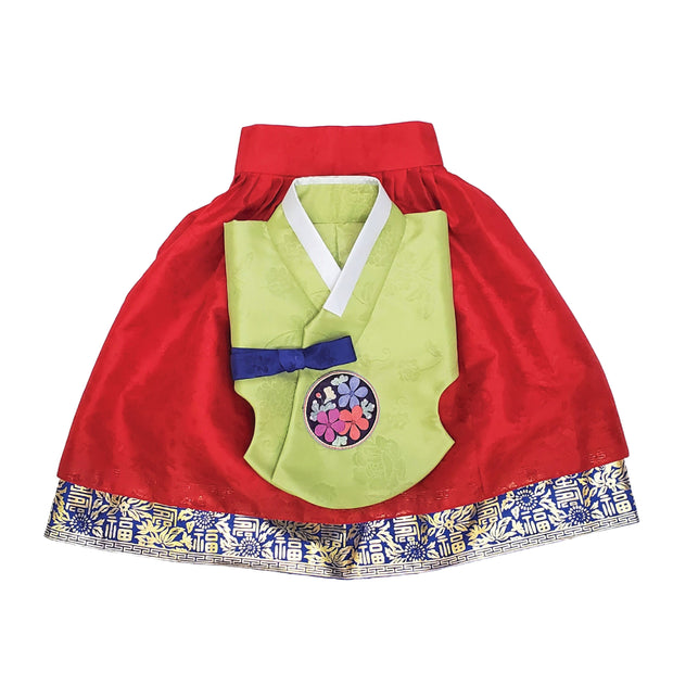 Hanbok - Green and Red with Gold Stamping - Girl Dol Hanbok Set - 7 Pieces