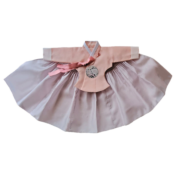Hanbok - Apricot and Light Lilac with Pearls - Girl Dol Hanbok Set - 7 Pieces