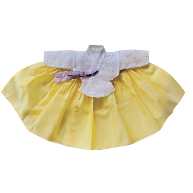 Hanbok - Lace and Yellow - Girl Dol Hanbok Set - 7 Pieces