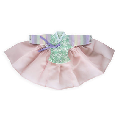 Hanbok - Lace Green Underlay and Blush  - Girl Dol Hanbok Set - 7 Pieces