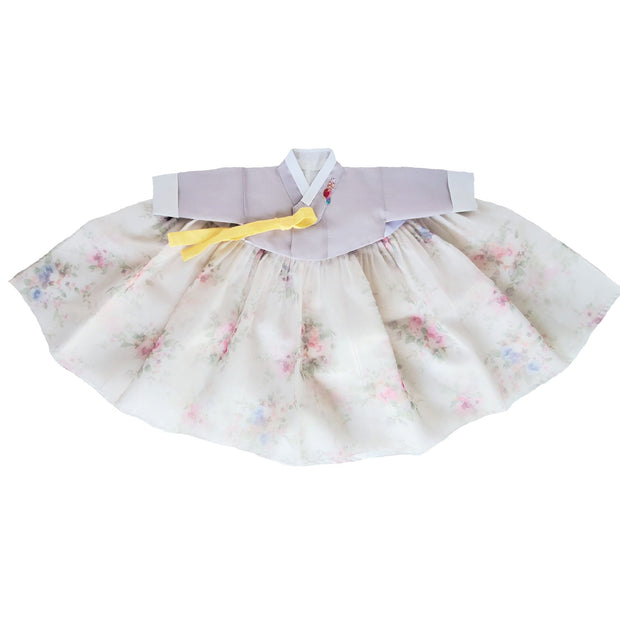 Hanbok - Lavender and Floral II  - Girl Dol Hanbok Set - 7 Pieces