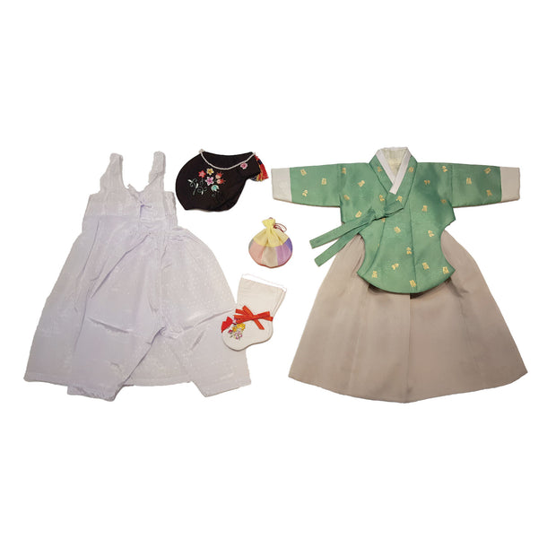Hanbok - Green with Gold Stamping and Gray - Girl Dol Hanbok Set - 7 Pieces