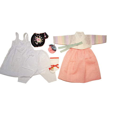 White Embroidered Rainbow Sleeves and Coral - Girl Dol Hanbok Set - 7 Pieces