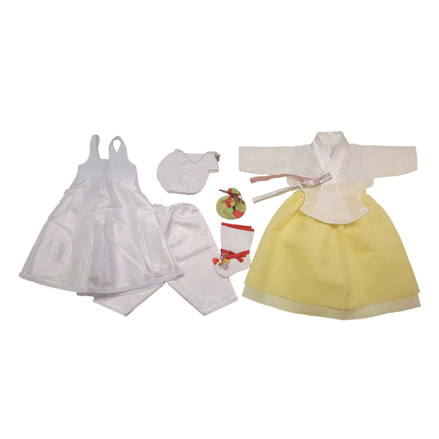 Lace and Yellow - Girl Dol Hanbok Set - 7 Pieces