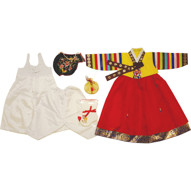Hanbok - Yellow and Red with Gold Stamping - Girl Dol Hanbok Set - 7 Pieces