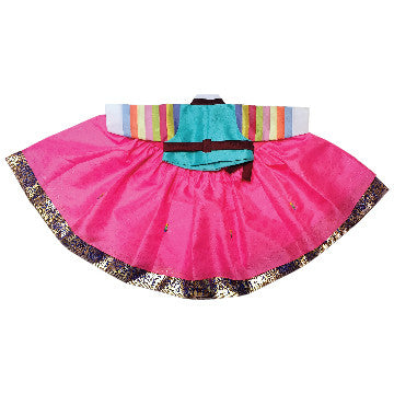 Blue Short and Pink Dress with Gold Stamping - Girl Dol Hanbok Set - 7 Pieces