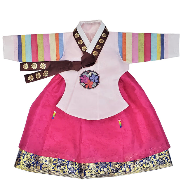 Hanbok - Light Pink and Dark Pink with Gold Stamping - Girl Dol Hanbok Set - 7 Pieces