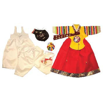 Hanbok - Yellow Bold Rainbow Sleeve and Red - Girl Dol Hanbok Set - 7 Pieces