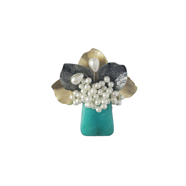 Brooch - Cyan Bouquet