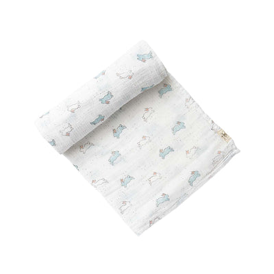 Crib Infant - Swaddle - Bunny - White Blue