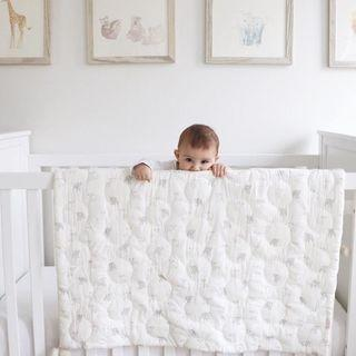 Crib Infant - Blanket - Tiny Bunny - Baby Crib Quilt with Pom Poms - White Gray Blue