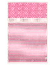 Infant Toddler - Pink Dot Stripe - Baby Crib Blanket - Ivory Pink