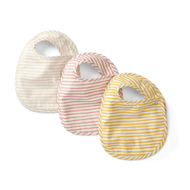 Bib - Set of 3 - Pink Yellow Stripes